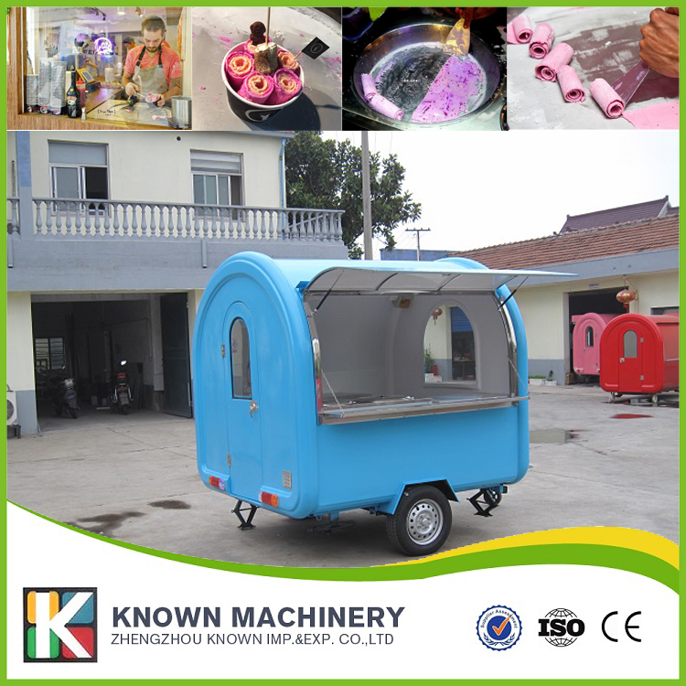 220w mobile food carts/trailer/ ice cream truck/snack food carts customized for sale free shipping by sea shipping by sea single pan fried ice cream machine fried ice cream roller for sale