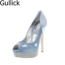 Newest Style Blue Denim Leather Slip On Peep Toe Pumps Fashion Platform Crystal Decoration High Heel Party Shoes Free Shipping blue tassel chinese style blue and white string bead women pumps crystal luxury platform weeding party bule stone bridal shoes