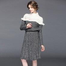 Для женщин вечерние карандаш платье женские офисные Star белая водолазка оборками Лоскутная Платье черного цвета с длинным рукавом Империя вязаное платье