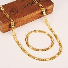 Moda 24 k amarelo acabamento de ouro sólido masculino ou feminino na moda pulseira 21cm colar conjunto figaro corrente relógio link