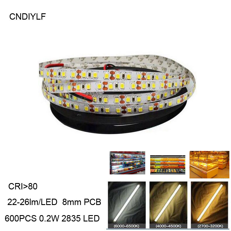 120LED / m Hvit 2835 LED Strip Light DC 24V Emitting Diode Tape 2835 5m / Roll Gir Customzine Fast Ship