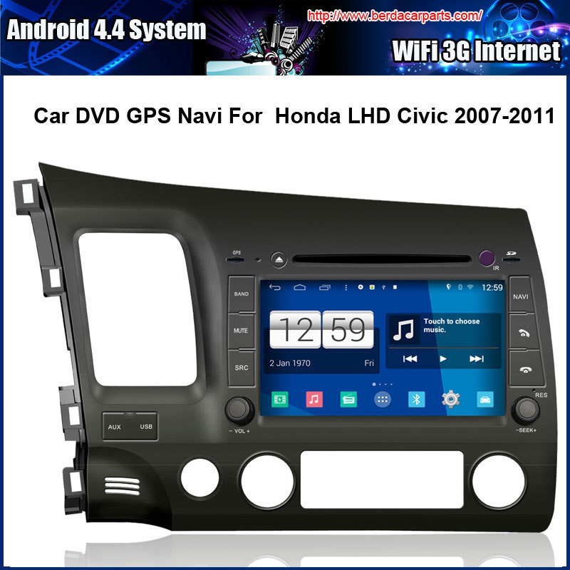 Android 4.4.4 Car DVD Player for Honda LHD Civic 2007-2011 Multi-touch Capacitive screen,1024*600 high resolution.