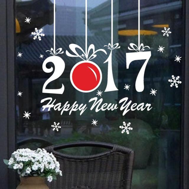 Новый Квалифицированные Стены Наклейки Новый Год 2017 С Рождеством Христовым Дома Стикера Стены Витрины Наклейки Декор dig6114