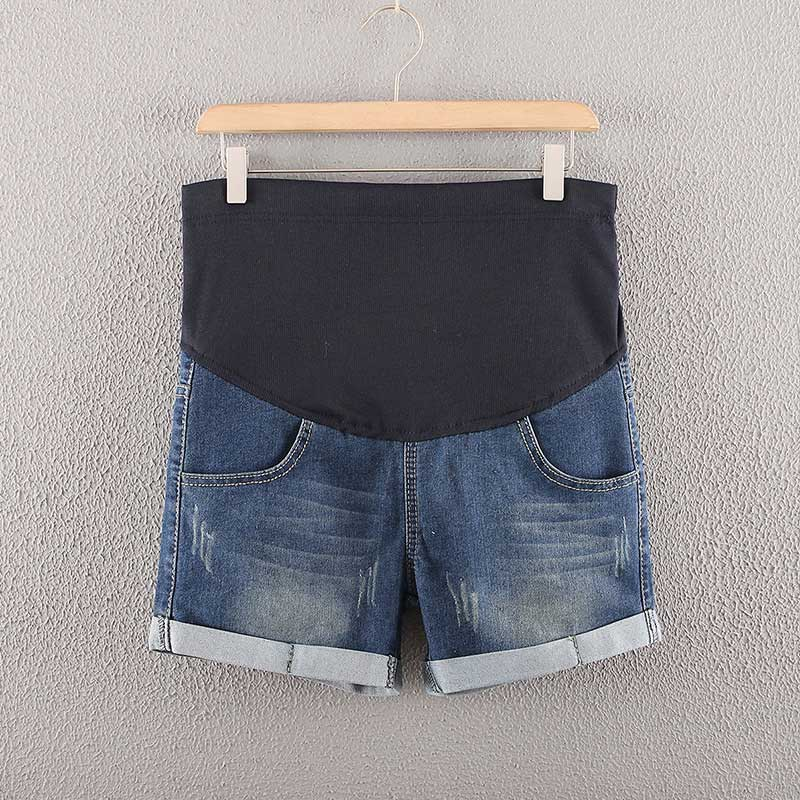 Summer Denim Maternity Shorts for Pregnant Women Pockets Jeans Elastic Waist Care Belly Pants S7JN