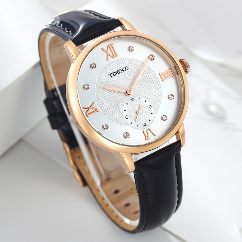 time100 women watch fashion black leather strap quartz watches ladies causal wrist watch for