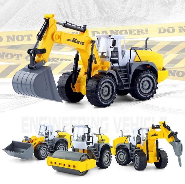 20 42 1 22 Juguete De Plastico Abs Ingenieria Excavadora Bulldozer Tirar Del Carro 4 Ruedas Grandes Liftfork Carro Modelo Juguetes Para Ninos