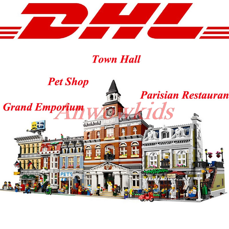 ФОТО Modular LEPIN City Town Street 15003 Town Hall 15005 Grand Emporium 15009 Pet Shop 15010 Parisian Restaurant Blocks Set