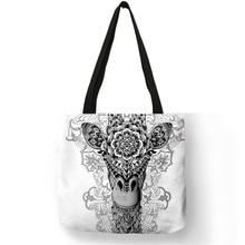 b5c67318f6cd5 ايكو حقيبة كتان مع الوشم الحيوان طباعة شعار عارضة حمل حقائب للنساء سيدة  حقائب تسوق قابلة