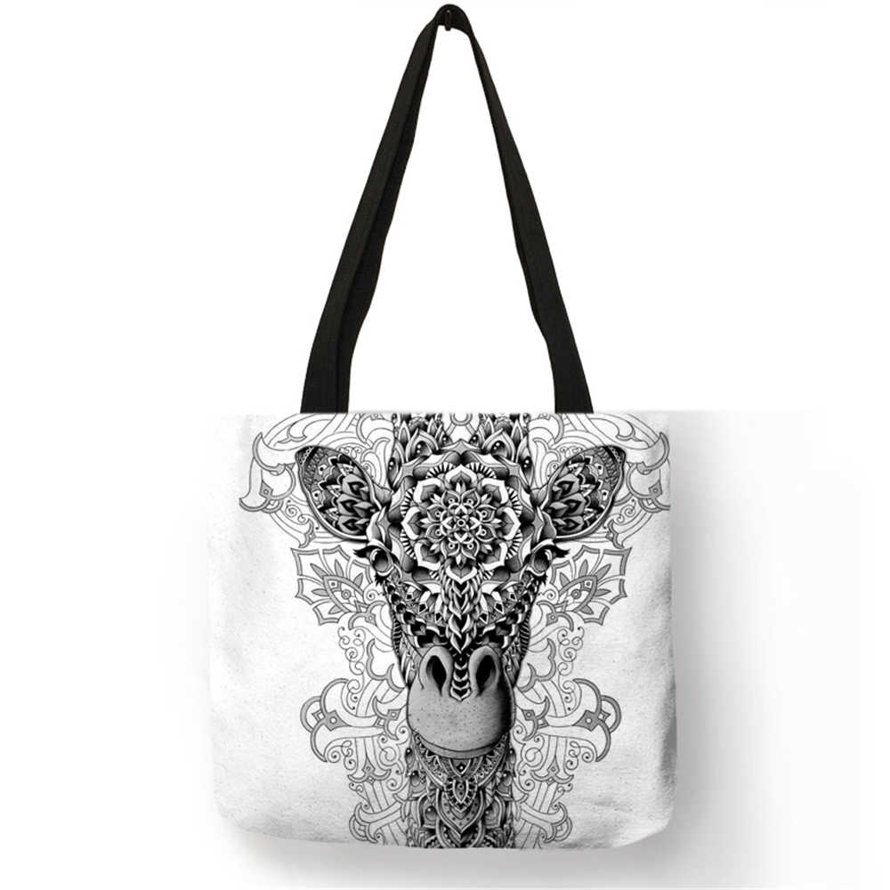 Eco Linen Bag With Tattoo Animal Print Logo Casual Tote Bags For Women Lady  Reusable Shopping 283befa7a07db