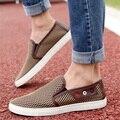 Europeo y Americano hombres recortes Diseñador de Conducción de Cuero Genuino Más El tamaño 49 de Malla de Aire Respirable zapatos Hombre Slip-On de Los Holgazanes