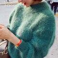 Зима Весна Теплые Пуловеры Свитера Корейский фонарь рукав Толстый Свободные сплошной цвет трикотажные Женские Свитера И Пуловеры