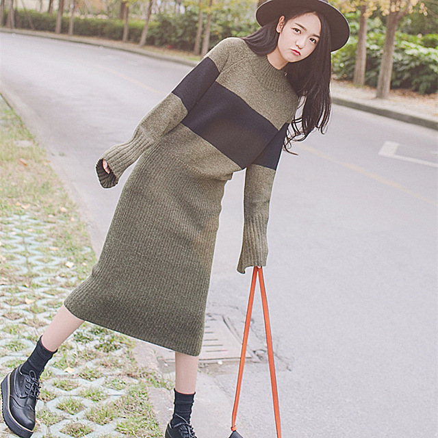 2017 Korean Fashion Style Winter Women Patchwork Color Stripes Long Sleeve Round Neck Dress Warm Slim