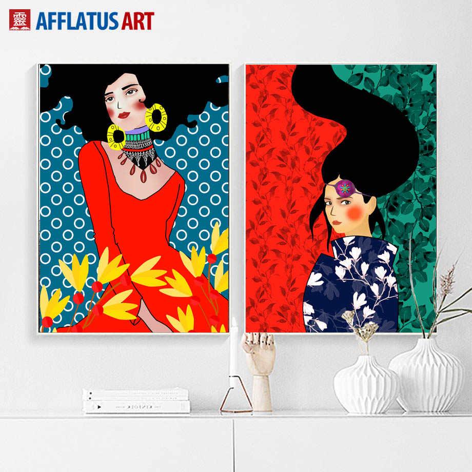 Mur Art toile peinture abstraite fille cheveux fleur nordique affiches et impressions Vintage mur photos pour salon décor à la maison