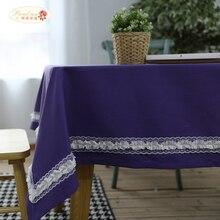 Гордая роза Фиолетовая кружевная скатерть Свадебное оформление Чистое хлопковое полотно для полотенец Северная Европа Скатерти Прямоугольные