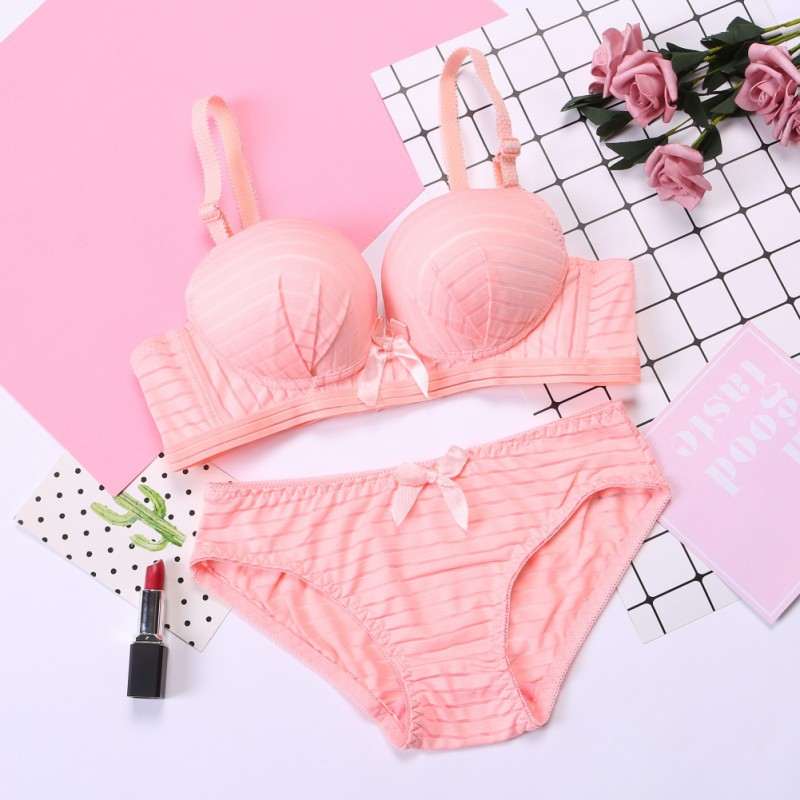 Bow Cotton Bra Sets Women Push Up Lingerie Bra Wireless Bra & Pantie Set Underwear Sets