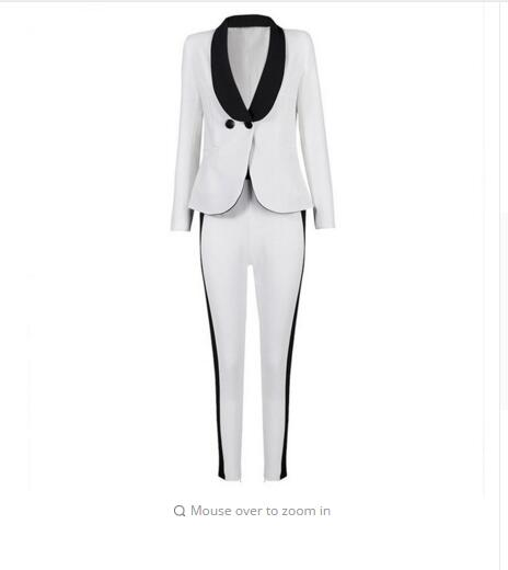 Custom made Ivory Women Pant Suits Shawl Lapel Fashion Long Sleeve Ladies One Button jacket+pants DR665