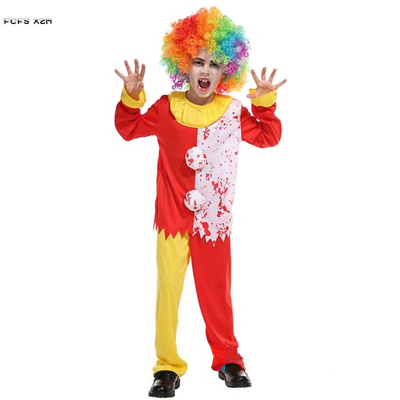 M-XL Kids Children Halloween circus clown Costumes for Boys Horror Cosplay Carnival Purim Masquerade Festival parade party dress