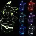 Pokemon go 1pec/set lamp 7 color changing visual illusion LED lamp 2016 fashion toy Pokemon 3D light action PIKACHU figure