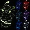 Pokemon ir 1pec/set lâmpada 7 mudando a cor ilusão visual luz CONDUZIU a lâmpada 2016 moda toy Pokemon 3D ação figura PIKACHU