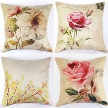 Funda de almohada de lino decorativa Vintage de algodón para el hogar, funda de cojín para cintura para sofá o cama para sala de estar, fundas de almohada de flores rosas