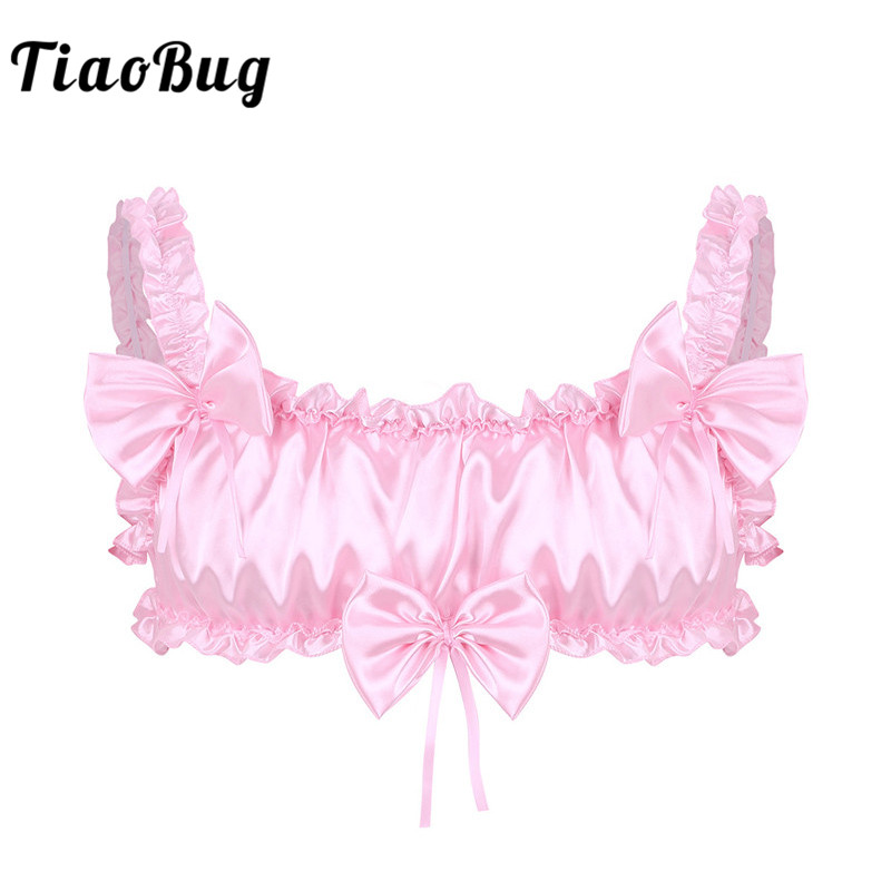 TiaoBug Men Crossdressing Pink/Black Sexy Crop Tops Soft Satin Ruffled Frilly Sissy Lingerie Elastic Straps Wire-free Bra Tops