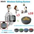 Система вызова официанта устройство приема заказа ресторана Vbrating Беспроводная система вызова 3 шт. K-300plus пейджер часов с 10 настольными звон...