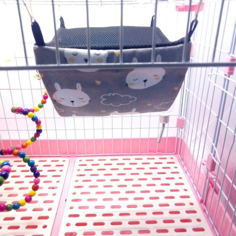 Pet Hamster Hammock Rat Bird Parrot Hanging 2 Layer Bed Soft Cushion Mesh House