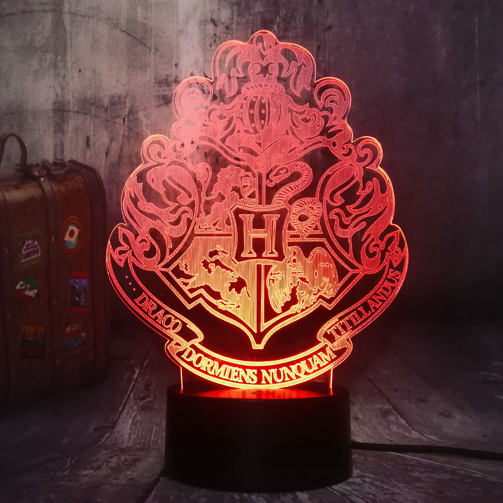 Cool Movie Fans HOGWARTS Magic School Emblem Logo 3D Illusion LED Night Light Mood Desk Lamp Home Decor Kids Toy Christmas Gift