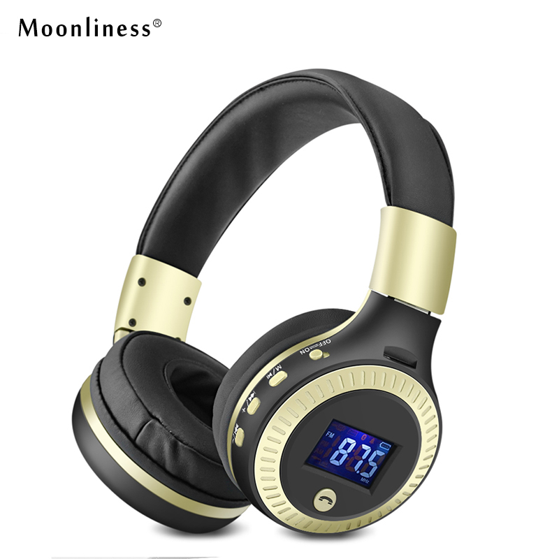 Moonliness B19 Bluetooth Wireless Headphone HiFi Bass Stereo Headphones LCD Display Headset with FM Micro-SD TF Card Slot  Phone economic set original nia 8809s 8 gb micro sd card a set wireless headphone sport for tv with fm