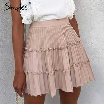 Simplee Elegant knitted skirt womens High waist A line ruffle stripe skirt female Autumn winter sweet pink ladies skirts 2019 - DISCOUNT ITEM  40% OFF All Category