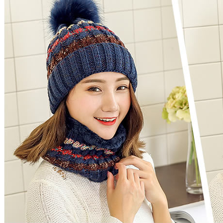 2019 Winter New Arrival Warm Thick Hat Scarf Set For Women Knit Beanies Balaclava Two Pieces Set