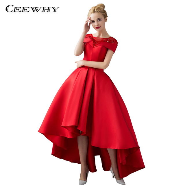 CEEWHY Short Sleeve High-low Evening Dress Ball Gown Evening Dresses Beaded  Luxury Prom Formal Dress Evening Gown Robe De Soiree c8bc57b315bf