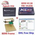 2017 Nueva V2.30 V4.036 KESS V2 OBD2 Gerente Sintonía Kit Maestro versión + Fgtech Galletto Master V54 + Adaptadores Marco de BDM DHL envío