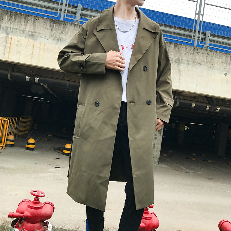 England Casual Cotton Lapel Double-breasted Men Trench Coat 2018 Autumn Korean Fashion Popular Solid Color Long Male Windbreaker