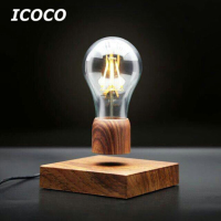 ICOCO Magnetic Wood Levitating Floating Wireless Bulb Lamp For Unique Gifts Room Decor Night Light Home