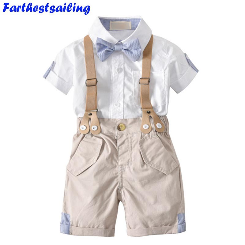 Summer Toddler Boys Clothes Set Children Shirt + Gentleman Pants Baby Overalls Kid Clothes Suits Formal Wedding Party Costume