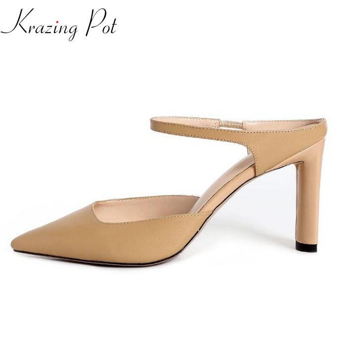 где купить Krazing pot full grain leather women brand shoes high heels stiletto shallow slip on elegant women pumps office lady shoes L06 по лучшей цене