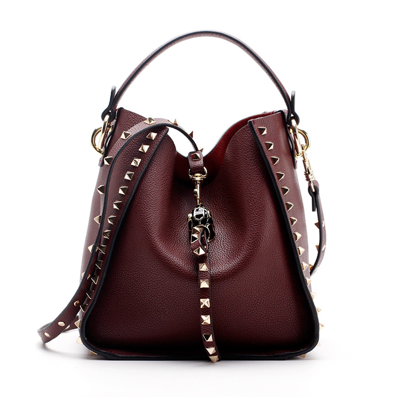 Brand 2017 Winter New Women Leather Purse and Handbag Big Tote Bags Rivet Designer Crossbody bags New Design shoulder bag 801 ladylike women s tote bag with solid color and daisy embossing design