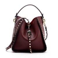 Brand 2017 Winter New Women Leather Purse and Handbag Big Tote Bags Rivet Designer Crossbody bags New Design shoulder bag 801