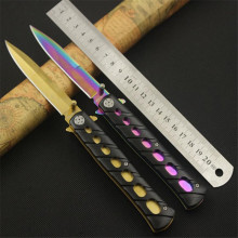 Titanium Plating 54HRC Folding Blade Knife CS GO Outdoor Survival Camping 3Cr13 Knife Stainless Steel Tactical Gold knives 53