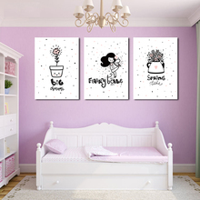 Cute Black And White Cartoon Girl With Flowers A2 A3  Canvas Painting Art Abstract Print Poster Picture Wall Bedroom Home Decor