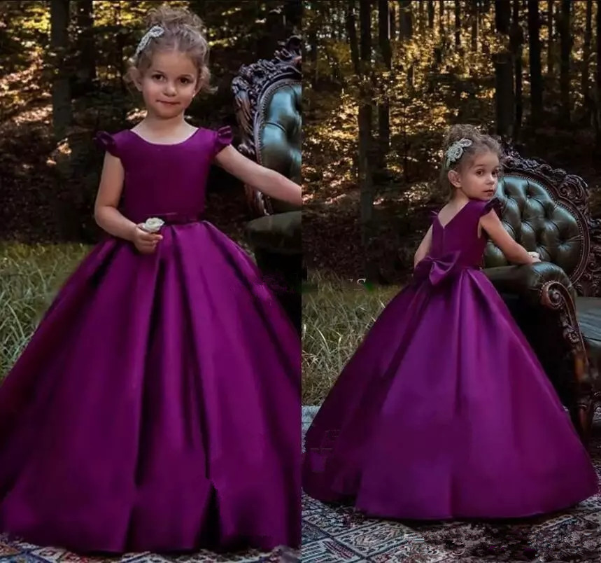 Elegant Purple A Line Simple Satin   Girls   Pageant   Dresses   Back Big Bow Zipper Floor Length   Flower     Girl     Dresses   For Party Gowns