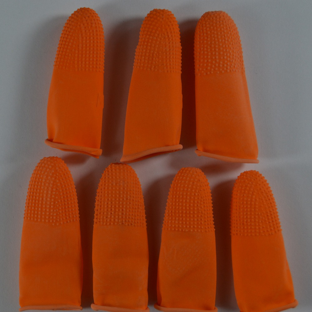 100pcs/pack 100% pure natural latex powder-free finger cot Anti static finger cots Non-slip cots color Orange  ESD work Gloves anti static elastic finger cots stalls yellow size l 50 pcs