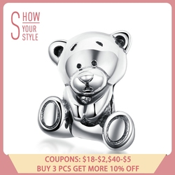 BAMOER 100% 925 Sterling Silver Waiting Bear Toy Animal Beads Charm fit Women Original Bracelets Sterling Silver Jewelry SCC1042