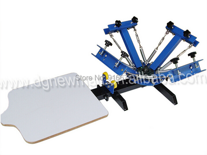 Free shipping Professional 4 color 1 station silk screen printing machine t-shirt printer press equipment carousel simple screen printing machine single color silk screen press equipment