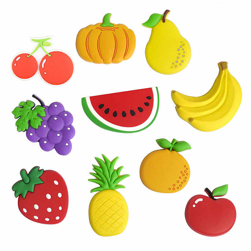 SUEF 1PCS Cartoon Kids Kawaii Fruits Banana Strawberry Watermelon Apple Grape Pear Fridge Magnets Souvenir Magnetic Sticker @1