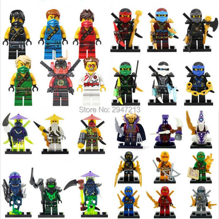 hot compatible LegoINGlys NinjagoINGlys Set NINJA figures Kai Jay Cole Zane Nya Lloyd Building blocks With weapon Toys gift