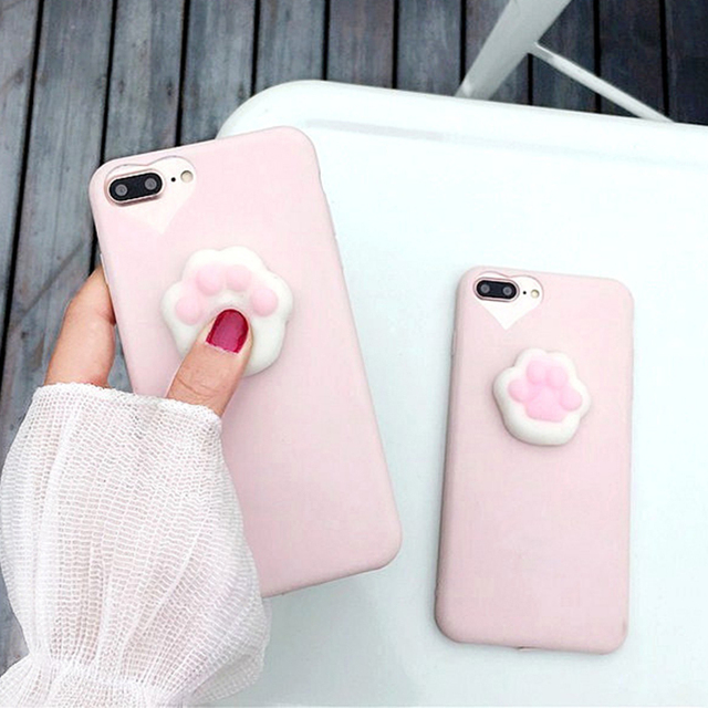 newest 54587 5d01f US $1.59 15% OFF|3D Cartoon Cute Squishy Cat Claw Case for iPhone 6 6S 7  Plus Fundas Funny Pressure Release Soft Squishi Squeeze Cats Phone Cases-in  ...