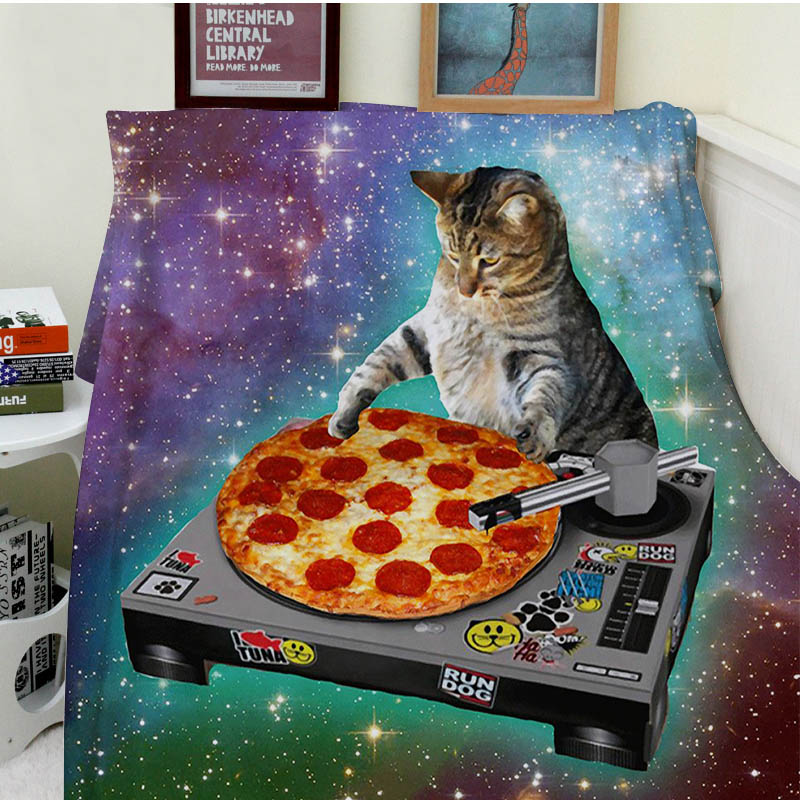 Blanket Comfort Warmth Soft Plush Easy Care Machine Wash Classic POP Space Cats And Pizza Sofa Bed Throw Kid Adult Warm Blanket-in Blankets from Home & Garden    1