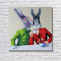 Lover Rabbit Oil Painting Modern Oil Painting On Canvas Abstract Painting Orangutans Cheap Modern Paintings No